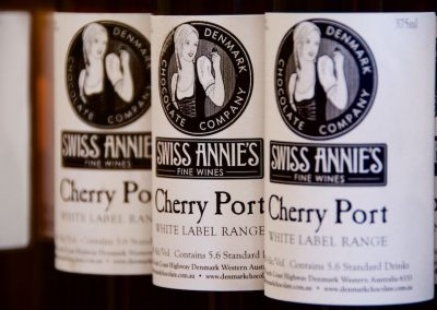 Bottles of Cherry Port lines up.